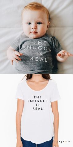 'The Snuggle is Real' Tee made for mamas and littles (3m-6T). Made of super soft tri-blend cotton for growing bebe bellies, and hanging loose in the perfect boyfriend cut for mamas. Snuggle up! Bebe via @householdmagny