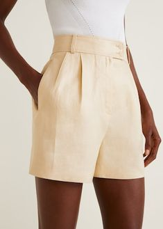 MANGO High-Waist Linen Shorts just need to be longer - for me Short Outfits, Cool Outfits, Short Dresses, Casual Outfits, Casual Shorts, Mango Fashion, Look Fashion, Fashion Outfits, Fashion Shorts