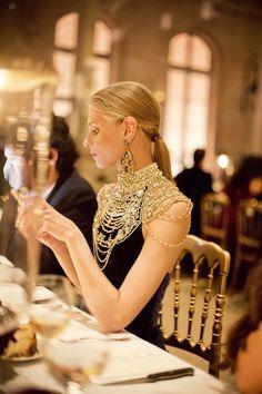Beautiful black dress with gold beading / detailing