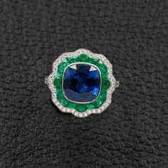 Sapphire, Emerald & Diamond Ring