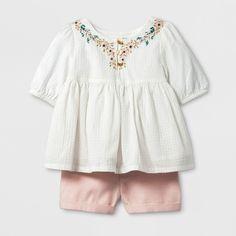 Toddler Girls' Top And Skirtall Set - Genuine Kids® from OshKosh® Almond Cream : Target