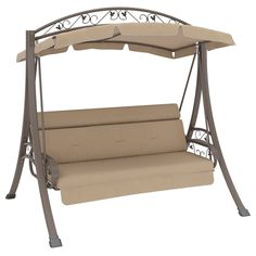 Corliving Nantucket Beige Arched Canopy Patio Swing With In