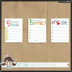 journal cards   ... one story down created these cute list journaling cards just for you