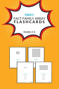 Use the Fact Family Array Flashcards for partner work in your classroom (grades One student looks at the array and reads out the four fact families, while the other student verifies that fact family by reading the back of the card. 4th Grade Math, Grade 3, Math Teacher, Teaching Math, Fact Families, Multiplication And Division, Math Skills, Math Resources, Classroom