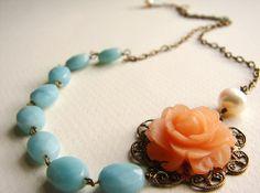 The Scent of Lisabetta necklace  peach orange aqua by soradesigns
