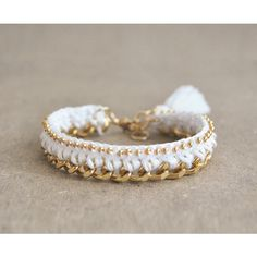 White crochet bracelet with chunky chain and beads, tassel bracelet,... ($17) ❤ liked on Polyvore