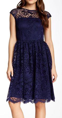 Maggy London | Illusion Yoke Lace Flare Dress