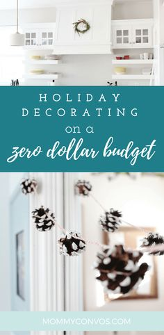 nature DIY decor for the holidays. how to use nature to help bring in christmas! decorating for the holidays on a zero dollar budget. Apartment Decorating On A Budget, Decorating Your Home, Diy Home Decor, Holiday Decorating, Apartment Ideas, Decorating Ideas, Room Decor, Christmas Diy, Christmas Decorations