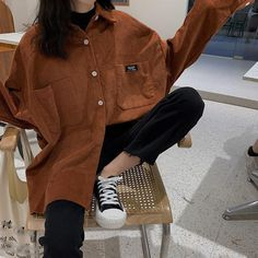 Fall Women Solid Long Sleeve Corduroy Shirts Pockets Female Turn Down Collar Loose Blouse Oversized Pocket Casual Shirts Moda Outfits, Retro Outfits, Casual Outfits, Cute Outfits, Fashion Outfits, Oversized Shirt Outfit, Oversized Long Sleeve Shirt, Big Shirt Outfits, Korean Girl Fashion