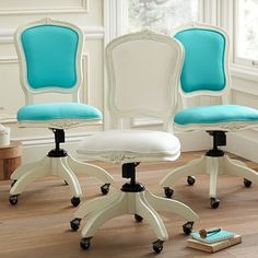 Shop ooh la la swivel chair from Pottery Barn Teen. Our teen furniture, decor and accessories collections feature fun and stylish ooh la la swivel chair. Create a unique and cool teen or dorm room. Furniture Vanity, Shabby Chic Furniture, Vanity Desk, Desk Hutch, Teen Furniture, Furniture Design, Furniture Stores, Shabby Chic Office Chair, Vanity Chairs