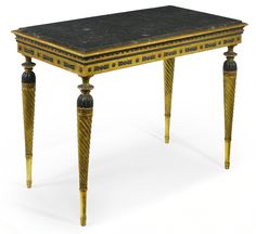 A Swedish Neoclassical part-ebonized and carved giltwood center table first quarter 19th century