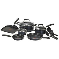 T-fal C109SC Signature Nonstick Expert Thermo-Spot Heat Indicator Cookware Set, 12-Piece, Black