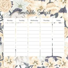 School timetable card with flowers background PNG and Vector Schedule Cards, School Schedule, Timetable Template, Planner Template, Frame Floral, Flower Frame, Table Planner, School Timetable, Us School