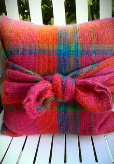 Vintage repurposed knitted plaid sweater pillow