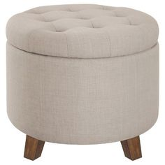 Threshold™ Tufted Round Storage Ottoman - Taupe