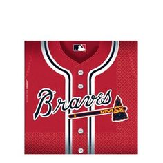 Amscan Baseball Dream Atlanta Braves Luncheon Napkins 36 Pack Red 66 x 66 ** Click image for more details.