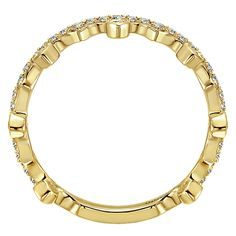 14k Yellow Gold Stackable Style  Stackable Ladies' Ring With  Diamond