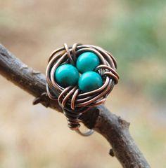 Bird nest ring Oxidized copper Howlite by Karismabykarajewelry