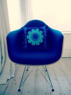 vintage barkcloth scandinavian style mod patchwork cushion pillow cover. £19,00, via Etsy.