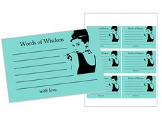 Breakfast at Tiffany's Words of Wisdom Cards @theblonde12 I seriously wish my shower was not tomorrow