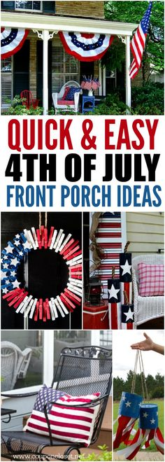Take a look at these easy of July Front Porch Ideas. Your house will be so festive with these Patriotic Outdoor Decorations. Fourth Of July Decor, 4th Of July Celebration, 4th Of July Decorations, 4th Of July Party, July 4th, 4th Of July Wreath, Outdoor Decorations, Holiday Decorations, Holiday Ideas