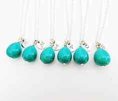 Set of six initial necklaces, turquoise teardrop necklace, simple turquoise necklace silver, bridesmaid gifts, personalized december stone by RobertaValle on Etsy