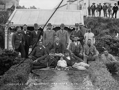 The committee of management of Parihaka pose for the camera in the The men sport raukura, albatross feathers, which symbolise peace. Parihaka is renowned for its passive resistance against the settler government. Chatham Islands, Maori People, West Papua, Maori Designs, The Settlers, Maori Art, Pose For The Camera, Easter Island, Image Caption