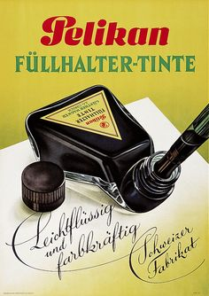 Pelikan, poster for ink, 1943. Unknown artist. Switzerland. Source