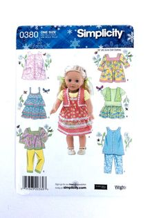 Simplicity 0380 Doll Clothes Pattern for 18 Inch Dolls such as American Girl dolls  by DonnaDesigned