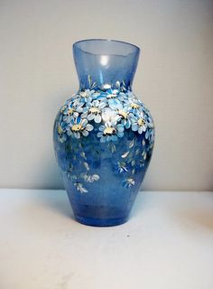 Blue Crackle Glass, Blue Glass Vase, Hand Painted, Scandinavian Style Design, Swedish Norwegian, Folk Art Style, Garden Daisies.
