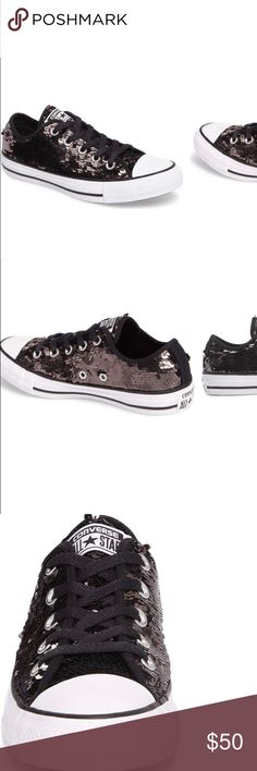 Sparkly Black Converse! Super fly!!! These bling bling converse add a sparkle and cuteness to any outfit!! The shoe will fit also a size 9.5 if foot runs smaller. Converse Shoes Athletic Shoes