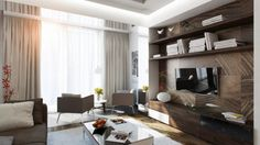 Modern Living Room Scheme Interior Design Among Wooden TV Cabinet Furniture Completed With Elegant Small Arm Chair Furniture as Home Inspiration