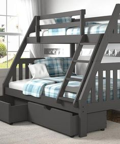 Purple Modern Gray Bunk Bed with trundle bed - bunk beds Twin Full Bunk Bed, Bunk Bed With Slide, Bunk Beds For Boys Room, Bed For Girls Room, Bunk Bed Rooms, Bunk Beds With Storage, Bunk Bed With Trundle, Modern Bunk Beds, Home Furniture