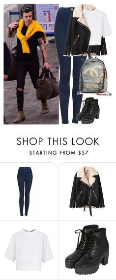 """Arriving in New York with Harry"" by valentinacard ❤ liked on Polyvore featuring Topshop, Acne Studios, Osman and Chanel"