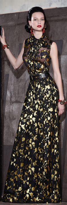 Dsquared² Resort 2015 black and gold gown