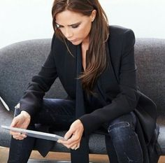 Victoria Beckham - love the smart jacket with casual dark jeans   Liked by - http://www.chinasalessite.com – Wholesale Women's Clothes,Online Catalog,Ladies Clothing,Wholesale Women's Wear & Accessories