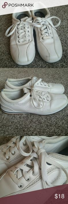 White Leather Keds Sneakers Keds Sneakers in white.  Women's size 8 Priced low because there is some yellowing to the ankles and a glue line.  Smoke free home. Keds Shoes Sneakers