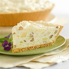 Millionaire Pie from Eagle Brand®...my sister makes this pie about once a year and it is SO GOOD!  It is in no means a healthy dessert but great for large parties!
