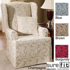 $31.01 - Slipcover for chair Scroll Wing Chair Slipcover   Overstock.com Shopping - Big Discounts on Sure Fit Chair Slipcovers
