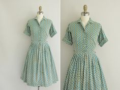 vintage 1950s dress / 50s green and teal by simplicityisbliss, $68.00