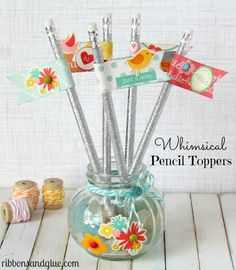 Simple Whimsical Pencil Toppers. Great Teacher gift idea! {ribbonsandglue.com}