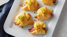 Cheese and Bacon Grands Crescents - These rich, hearty bacon, egg and Cheddar crescent roll-ups taste like they came straight from ovens at the bakery. The secret ingredient? Crescent Roll Recipes, Crescent Rolls, Breakfast Pizza, Breakfast Casserole, Breakfast Sandwiches, Brunch Recipes, Breakfast Recipes, Breakfast Ideas, Brunch Ideas