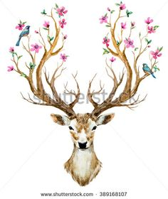 watercolor illustration isolated deer, big antlers, flowers and birds on the horns, branches cherry flowering plant - stock photo