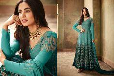 Anarkali Salwar Kameez Indian Party Wear Faux Geoegette Bollywood Salwar Suit KF