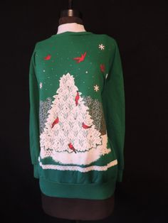 by cricketcapers Snowy Christmas Tree, Ugly Christmas Sweater, White Lace, Turtle Neck, Plus Size, Sweatshirts, Green, Handmade, Stuff To Buy