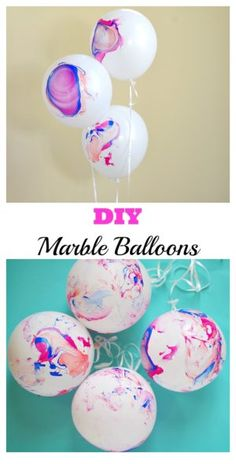 DIY Marble Balloons. Make beautiful swirl and marble balloons to match any party colors or theme!