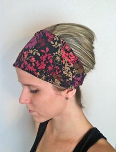 Black Patterned Wide Headband Fabric Headband Women s by LillyWest d4cff9f1ea6