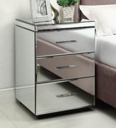 Mirrored 3 Drawer Bedside Chest
