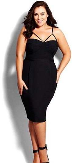 City Chic @ Nordstrom - Every enviable curve is daringly defined in this sultry LBD with a fitted sweetheart bodice featuring shaped cups and a cutout design of thin, adjustable straps. Twin pleats release down the skirt front, softening the figure-skimming fit. Brand: CITY CHIC. Style Name:City Chic 'Undress Me' Dress (Plus Size).