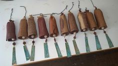 Bill's bells again...He sold 10 this morning...At once! EarthWind Stoneware, hand made bells.